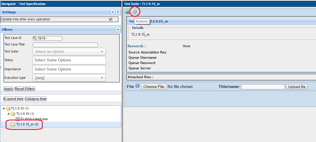 go to testlink home test specification select the test suite from the tree and click actions